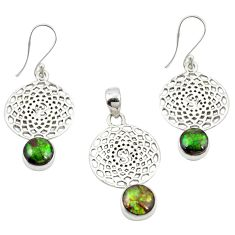 Natural multi color ammolite (canadian) 925 silver pendant earrings set m25613