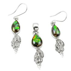 925 silver natural multi color ammolite (canadian) pendant earrings set m25616