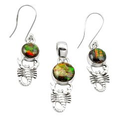 Natural multi color ammolite (canadian) 925 silver pendant earrings set m25617