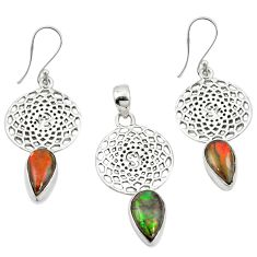 Natural multi color ammolite (canadian) 925 silver pendant earrings set m25618