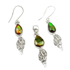 925 silver natural multi color ammolite (canadian) pendant earrings set m25619