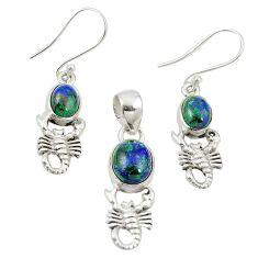 Natural green azurite malachite 925 silver scorpion pendant earrings set m25623