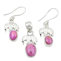 Natural phosphosiderite (hope stone) 925 silver pendant earrings set m25625
