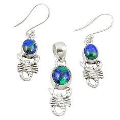 Natural green azurite malachite 925 silver scorpion pendant earrings set m25627