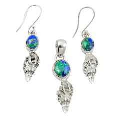 Natural green azurite malachite 925 silver pendant earrings set jewelry m25628