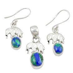 Natural green azurite malachite 925 silver elephant pendant earrings set m25632