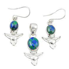 Natural green azurite malachite 925 silver owl pendant earrings set m25636