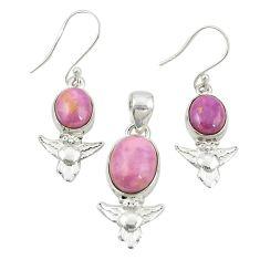 Natural phosphosiderite (hope stone) 925 silver owl pendant earrings set m25637
