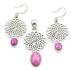 Natural phosphosiderite (hope stone) 925 silver pendant earrings set m25638