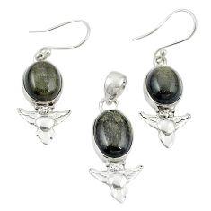Natural golden sheen black obsidian 925 silver pendant earrings set m25641