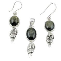 925 silver natural golden sheen black obsidian pendant earrings set m25644