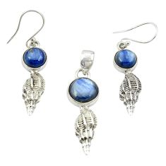 Natural blue kyanite 925 sterling silver pendant earrings set jewelry m25645