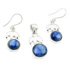 Natural blue kyanite 925 sterling silver pendant earrings set jewelry m25646