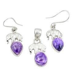 925 silver natural purple charoite (siberian) pendant earrings set m25648