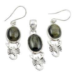 Natural golden sheen black obsidian 925 silver pendant earrings set m25649