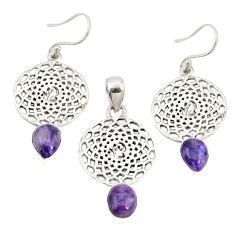 Natural purple charoite (siberian) 925 silver pendant earrings set m25650