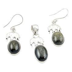 Natural golden sheen black obsidian 925 silver pendant earrings set m25653