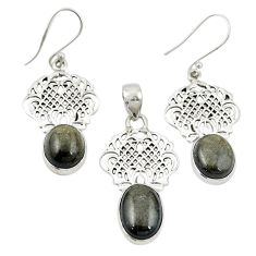 925 silver natural golden sheen black obsidian pendant earrings set m25659