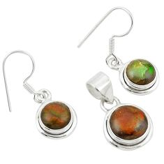 Natural multi color ammolite (canadian) 925 silver pendant earrings set m26181