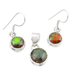 Natural multi color ammolite (canadian) 925 silver pendant earrings set m26185