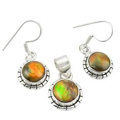 Natural multi color ammolite (canadian) 925 silver pendant earrings set m26187