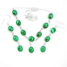Natural green malachite (pilot's stone) 925 silver earrings necklace set m38112