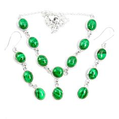 Natural green malachite (pilot's stone) 925 silver earrings necklace set m38115