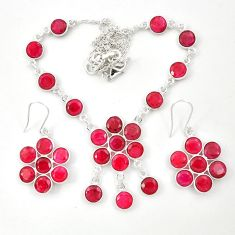 Natural red ruby 925 sterling silver earrings necklace set m44100
