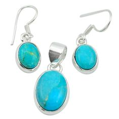 Blue arizona mohave turquoise 925 sterling silver pendant earrings set m53538