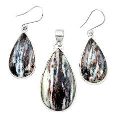 Natural bronze astrophyllite (star leaf) 925 silver pendant earrings set m59303