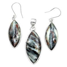 Natural bronze astrophyllite (star leaf) 925 silver pendant earrings set m59304