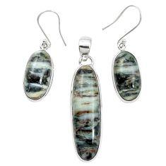 Natural bronze astrophyllite (star leaf) 925 silver pendant earrings set m59307