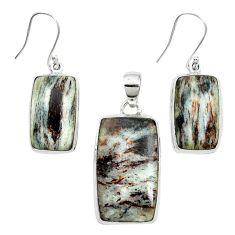 Natural bronze astrophyllite (star leaf) 925 silver pendant earrings set m59310