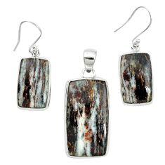 Natural bronze astrophyllite (star leaf) 925 silver pendant earrings set m59313