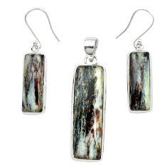 Natural bronze astrophyllite (star leaf) 925 silver pendant earrings set m59317