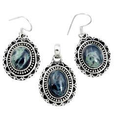 Natural black spider web obsidian 925 silver pendant earrings set m62061