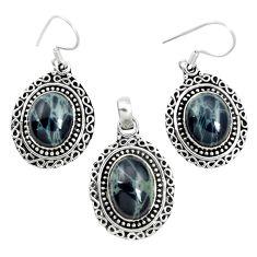 Natural black spider web obsidian 925 silver pendant earrings set m62062