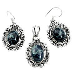 Natural black spider web obsidian 925 silver pendant earrings set m62063