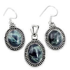 925 silver natural black spider web obsidian pendant earrings set m62064