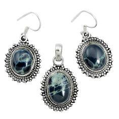Natural black spider web obsidian 925 silver pendant earrings set m62065