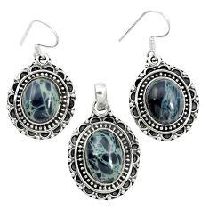 Natural black spider web obsidian 925 silver pendant earrings set m62066