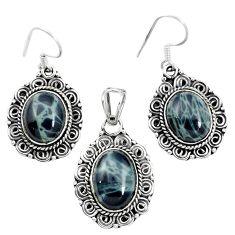 Natural black spider web obsidian 925 silver pendant earrings set m62067