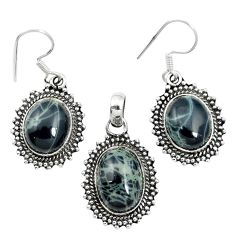 Natural black spider web obsidian 925 silver pendant earrings set m62068
