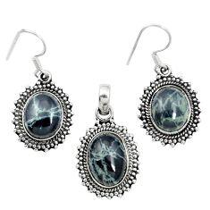 Natural black spider web obsidian 925 silver pendant earrings set m62069