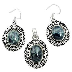 925 silver natural black spider web obsidian oval pendant earrings set m62070