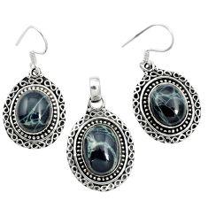 Natural black spider web obsidian 925 silver pendant earrings set m62071