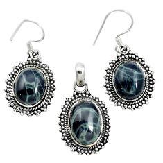 Natural black spider web obsidian 925 silver pendant earrings set m62072