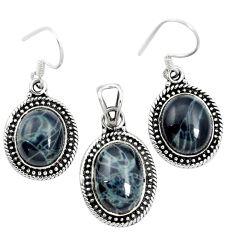 Natural black spider web obsidian 925 silver pendant earrings set m62073