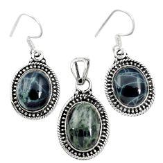Natural black spider web obsidian 925 silver pendant earrings set m62074