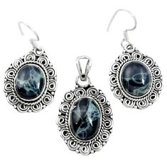 Natural black spider web obsidian 925 silver pendant earrings set m62075